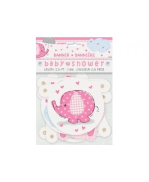 Letrero Baby Shower Umbrellaphants Pink