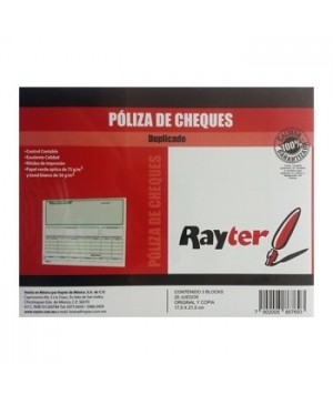 Cheque poliza media carta Rayter 25 juegos