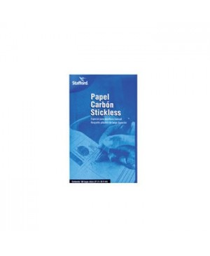 Papel carbon tamaño carta Stafford stickless azul con 100 piezas