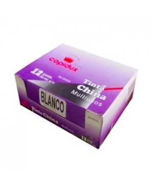 Tinta china Copidux blanca con 12 piezas 15 ml.