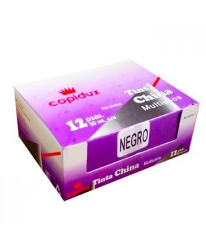 Tinta china Copidux negra con 12 piezas 15 ml.